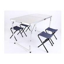 Портативный Открытый складной столик для кемпинга с 4 шт. табурет из алюминиевого сплава ультра-светильник складной стол для пешего туризма пикника 120*60