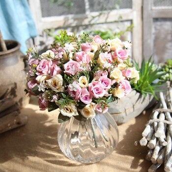 Zarif Güzel Avrupa Yapay Gül Simülasyon Ipek Buket çiçekler Ev