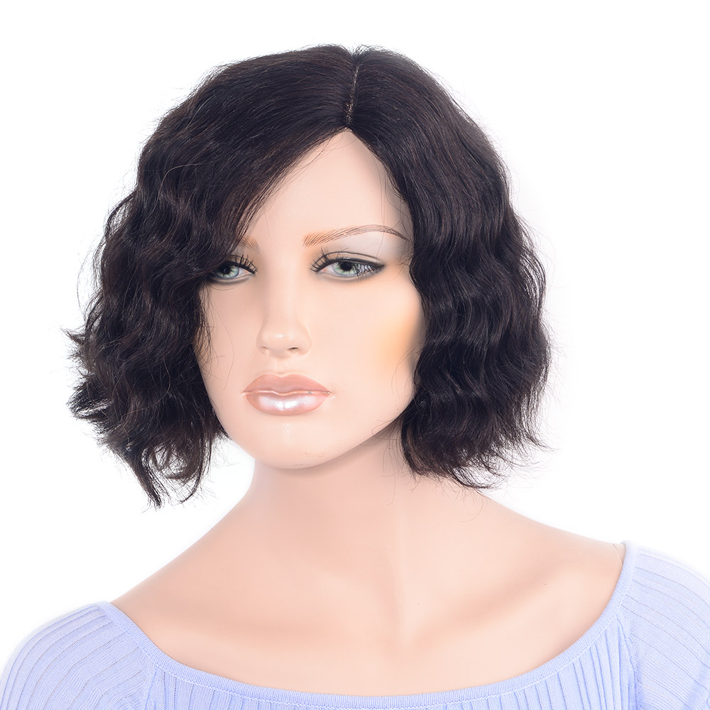 LADYSTAR Lace Front Human Hair Wigs Remy Front Right Part Hand Made Wave Short Bob Wigs for Women 130% Density Hair Wigs