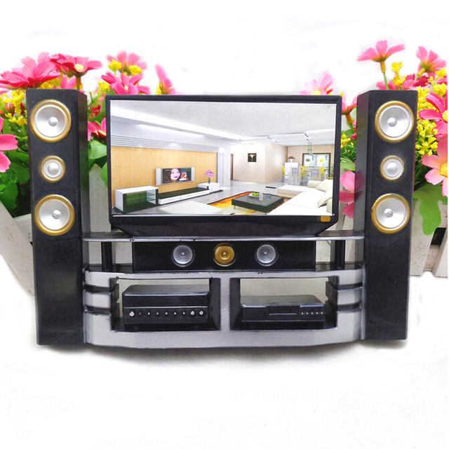 Baby Toys Mini Hi-Fi 1:6 TV Home Theater Cabinet Set Combo For   Doll Clothes Dress Accessory House Furniture High Quality