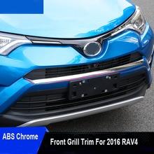 1pc/set ABS Chrome Front Grill Garnish Trim For 2016 Toyota Rav4 Rav 4 Styling Car Accessories