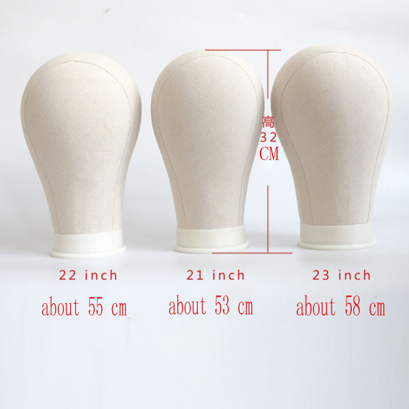 21/22/23/24 Inch Beige Color Canvas Block Mannequin Head For Wig Display Hair Cutting And Styling Manikin Head For Wig Making