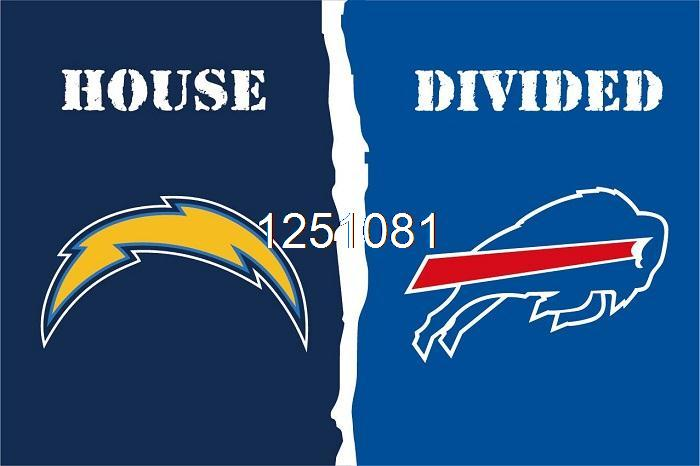 San Diego Chargers Buffalo Bills House Divided Flag 3ft X