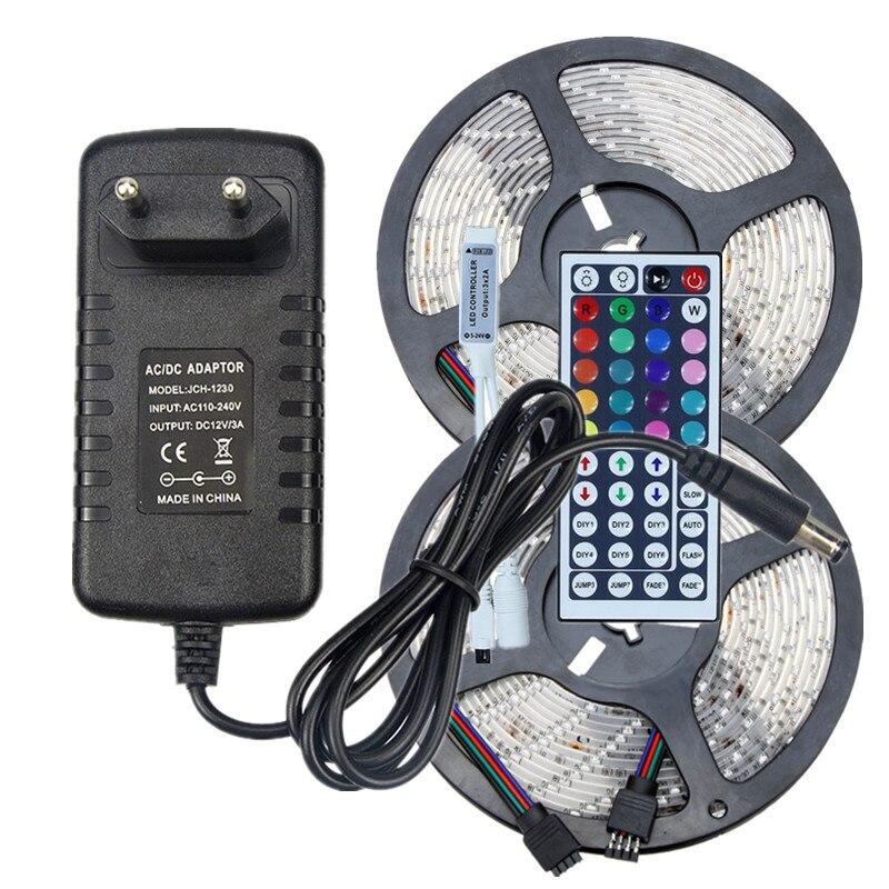 Waterproof RGB LED Strip SMD 2835 12V Strip Lighting 5m 10m 60leds/m Multicolor Tape Ribbon+IR Remote Controller+AC DC Adapter