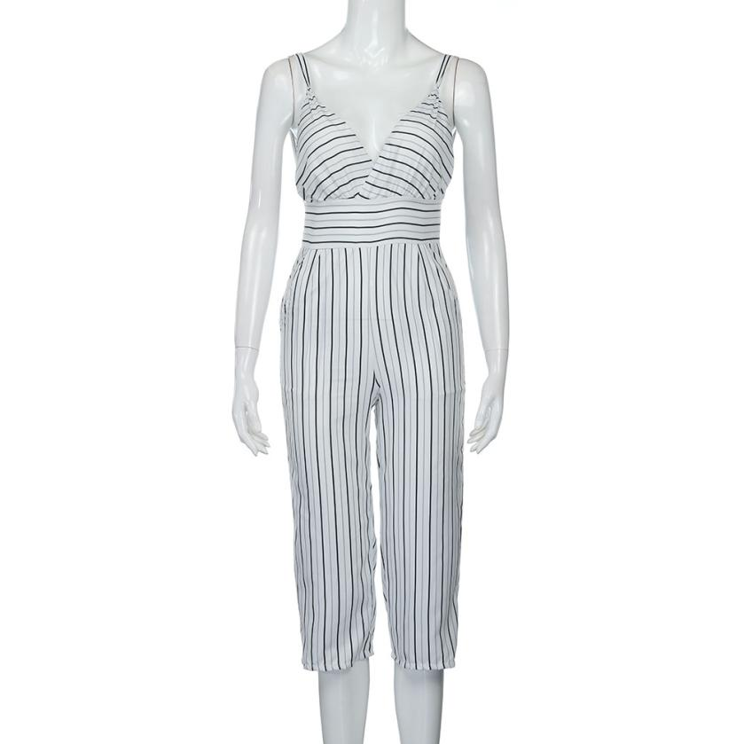 f99589edca98 2017 Summer Women Strap Vertical Striped Jumpsuit Sleeveless Backless Long  Jumpsuit Macacao feminino Body mujer Elegant Costumes-in Jumpsuits from  Women s ...