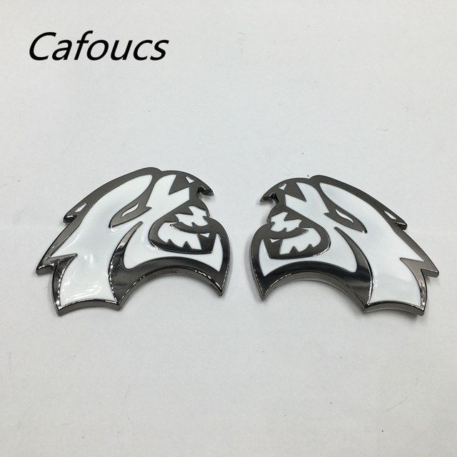 Set Of 2 White Hellcat Metal Emblem Badge Fender Sticker For 2017 Dodge Challenger Srt Hemi 66 58mm