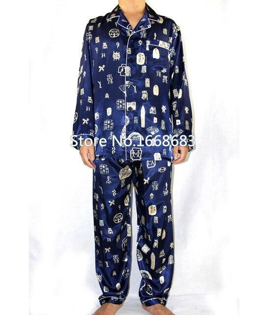 Темно-синий китайских мужчин шелковые пижамы костюм осень новый длинным рукавом Pyjama комплект свободного покроя пижамы 2 шт. размер sml XL XXL XXXL S0045