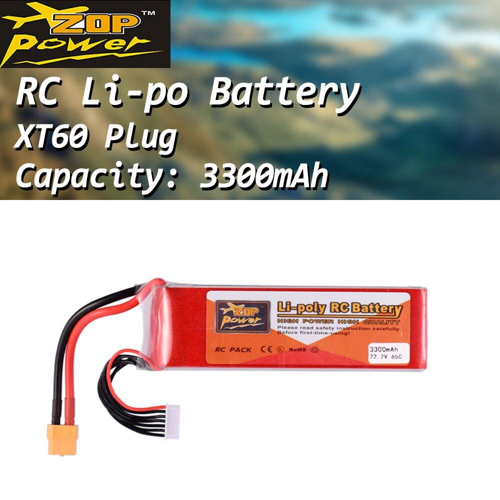ZOP Power 22.2V 65C 3300mAh 6S Lipo batterie XT60 prise Rechargeable pour RC course Drone quadrirotor hélicoptère voiture bateau