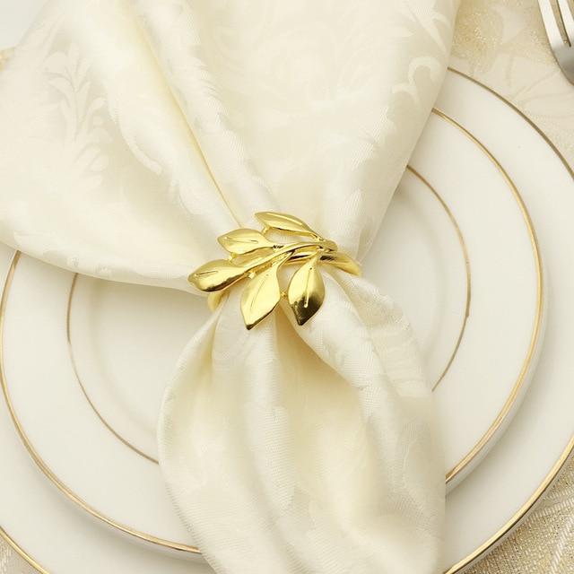 חובקי מפיות בצורת עלה  לעיצוב שולן האוכל  2