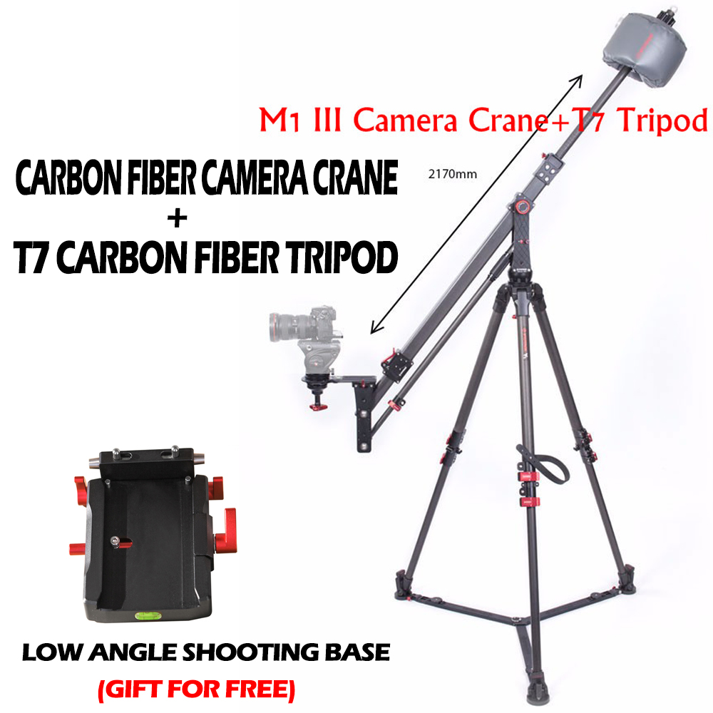 IFOOTAGE Professional Carbon Fiber mini Camera Jib Crane M1 III + IFOOTAGE Wild Bull T7 Carbon Fiber Legs Tripod Stand Kit professional carbon fiber camera crane jib arm for dslr camera and camcorders portable camera accessories flexible rocker cd50