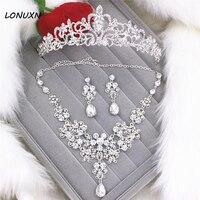 High grade braut Hochzeit kopfschmuck spitze drei stücke ehe crown + halskette + ohrringe frauen schmuck sets liebhaber beste geschenk