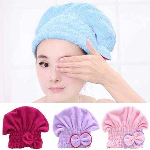 US/_ Hair Drying Hat Spa Towel Turban Cap Bowknot Soft Coral Velvet Micro-fiber G