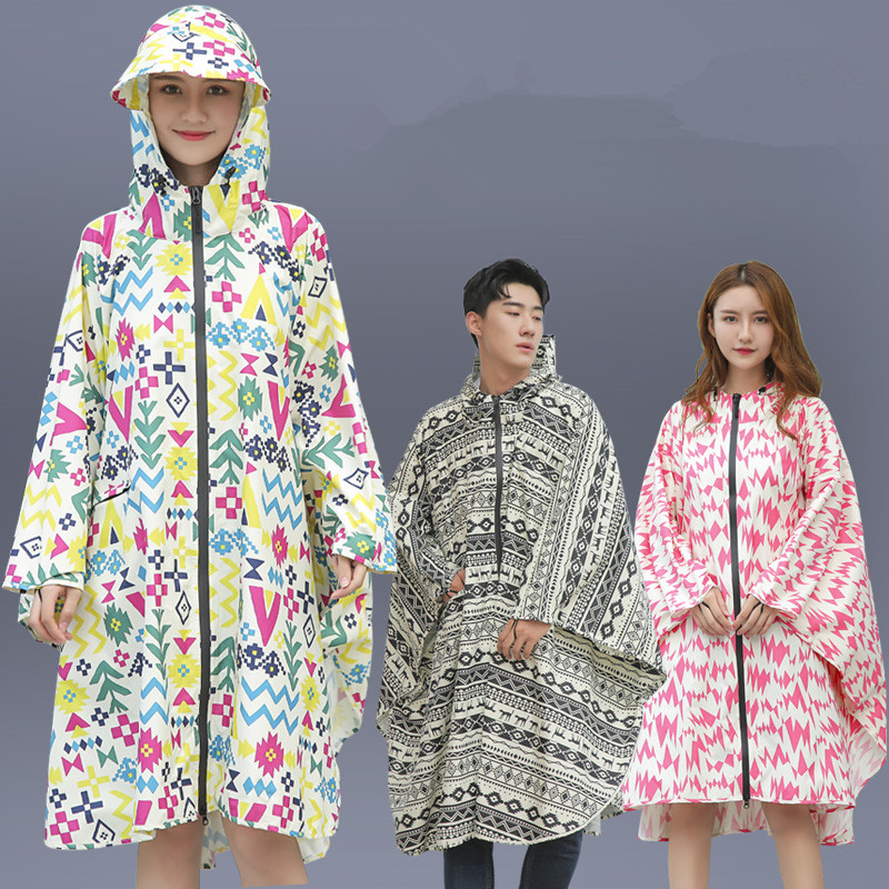 Femmes hommes adulte pluie Poncho vélo randonnée en plein air imperméable à capuche imperméable veste manteau manteau de pluie vêtements Regen Poncho 50yc74