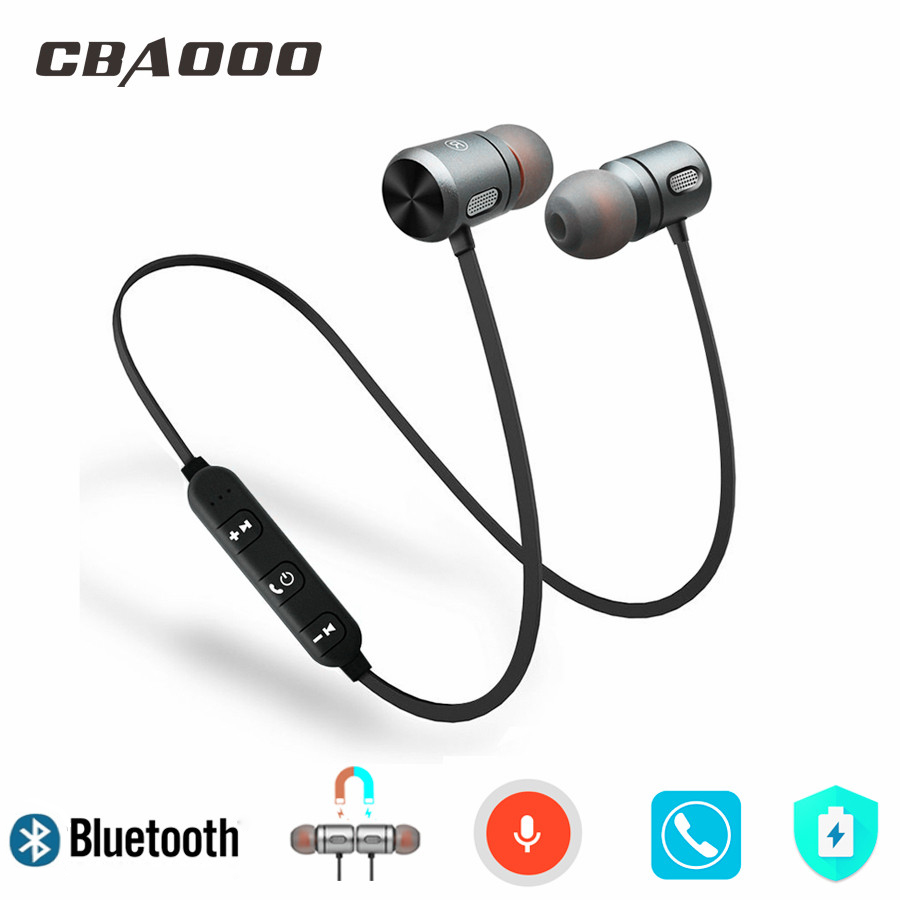Magnetic Wireless Headphone Sports Bluetooth Earphones Headphones Handsfree Neckband Cordless Headset With Mic For Phone fineblue f980 retractable mini wireless bluetooth earphones handsfree headset stereo headphone clip mic phone call portable