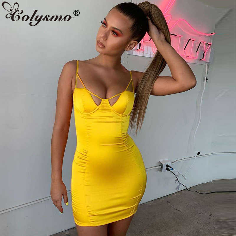 3d72efe0ed2 Colysmo Summer Satin Dress 2019 Women Party Dress Sexy Unique Geometric  Hollow Out Backless Bodycon Elegant