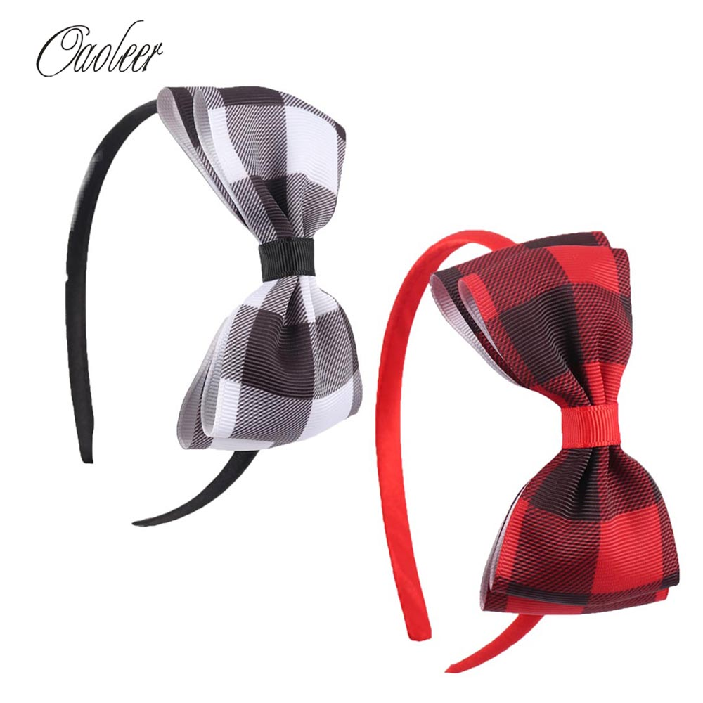 где купить 6pcs/Lot Red Black White Plaid Hairband Girls School Headband Handmade Kids Hair Accessories Christmas Hairbands по лучшей цене