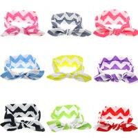 Wholesale 200Pcs/lot Newborn Baby Kids Girls Print Striped Rabbit Ears Turban Bow Headband Children Headwear Hair Accessories
