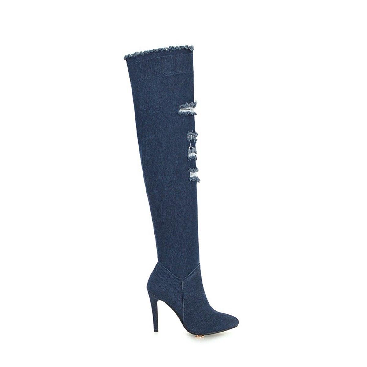 Tacón Cremallera Zapatos Nuevo Rodilla Otoño Estrecha Sexy Denim Blue light Blue Invierno Sobre Mujeres Punta De Moda La Botas Azul Fino Dark Damas 2018 HxT7wzqXO