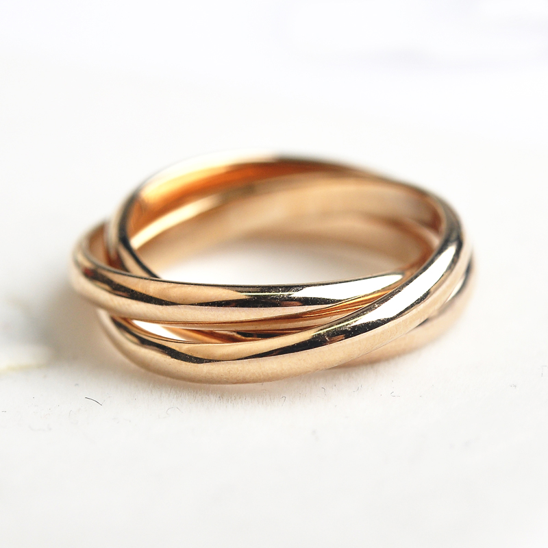 USTAR Simple 3 layers round Rings for women Rose gold color wedding rings female Anel Bijoux gift top quality