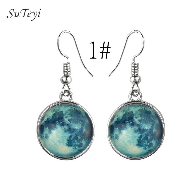 SUTEYI 12 Style Planet Glow Hook Earrings Star Series Glass Cabochon Earring Glow in the Dark Silver Color Jewelry Bijoux Femme