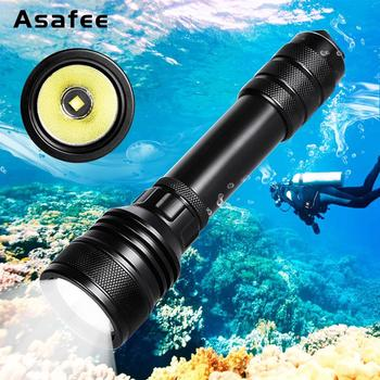 Asafee Professional Flashlight for Diving 2000lumens CREE XHP-50 Underwater 150m Waterproof LED Scuba Diving Torch Diving Lamp
