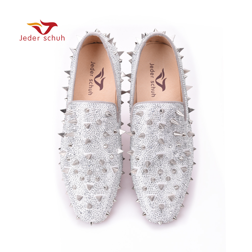 Men loafers gold and Silver Diamond rivets surface design party man flats Spiked Loafers Rivets  shoes loafers men india golden silk weaving pattern crown and leaf design flats velvet shoes men loafers noble temperament