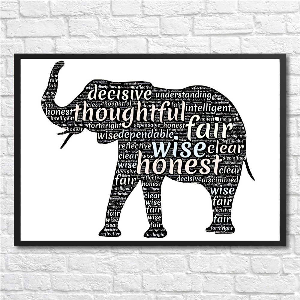 Poster elephant art Minimal painting Wall Art Print ...