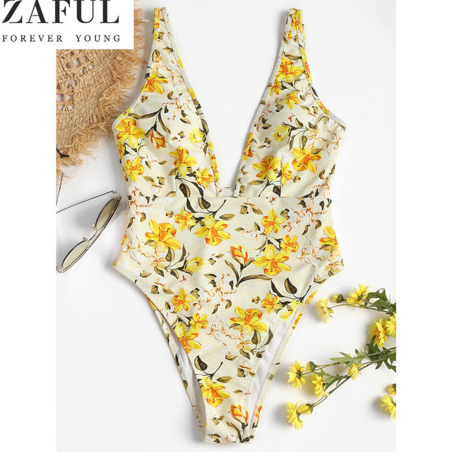 18c0d79d3ed86 ZAFUL High Leg Floral Print Backless Women One Piece Swimsuit Sexy Plunge  Neck High Waist Bathing Suit Swimwear Female Monokinis