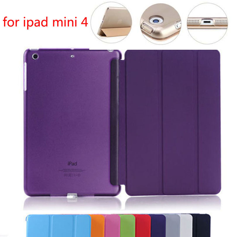 For iPad Mini4 Ultra Slim Magnetic Smart Cover PU Leather Case with clear transparent back case