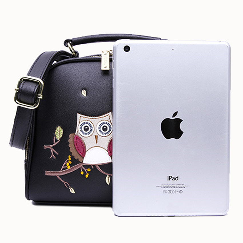 HOW.R.U Luxury Embroidery Owl Handbag Designer Cartoon Woman Bags PU Leather Crossbody Bags for Women Shell Laides Hand Bag 2019-in Top-Handle Bags from Luggage & Bags    3