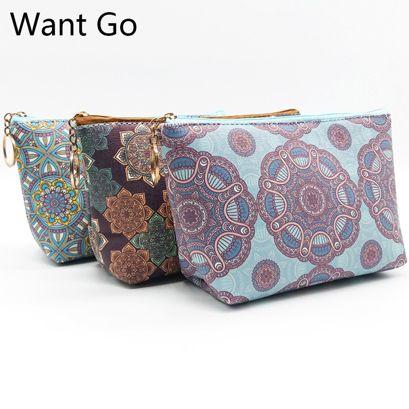 Want Go Vintage Printing Women Makeup Bag Zipper Cosmetic Bag Beauty Toiletry Organizer Wash Pouch Vanity Travel Storage Bag