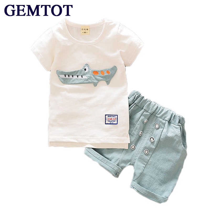 GEMTOT Baby Boys Clothing Suit 2017 Summer Short-sleeved Cotton and Linen T-shirt + Shorts 2pcs Casual Kids Clothes Set