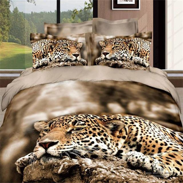 3D Animal Printing Leopard Cheetah Sleeping Bedding Set 100 Cotton Bedlinen Quilt Cover Pillow Case