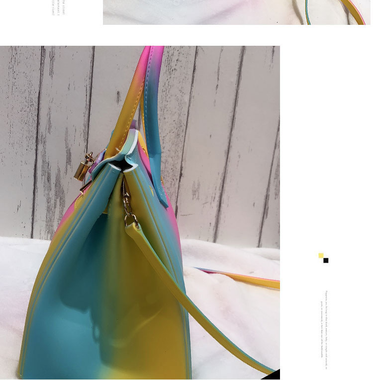 Cotton Candy Rainbow Birkin Bag High Quality Colorful Handbags + Free Women Scarf (Gift)