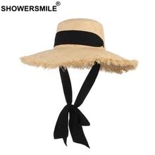 SHOWERSMILE Women Summer Hat Raffia Beach Female Handmade Sun Protection Large Brim 12cm Retro Black Ribbon Ladies Straw