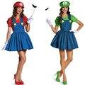 Super Mario Bros Luigi Traje Mujer Hombre Sexy Traje Plumber Mario Bros Cosplay del Vestido de Lujo Adulto