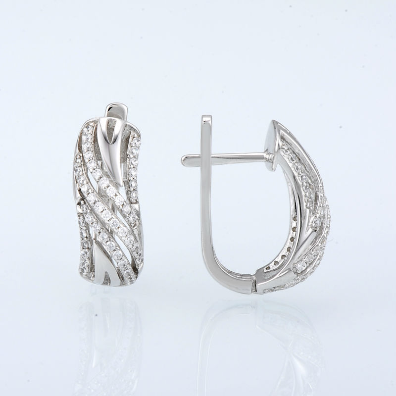 Image 3 - SANTUZZA Silver Earrings For Women Authentic 925 Sterling Silver серьги женские Sparkling Cubic Zirconia brincos Fashion Jewelry-in Stud Earrings from Jewelry & Accessories