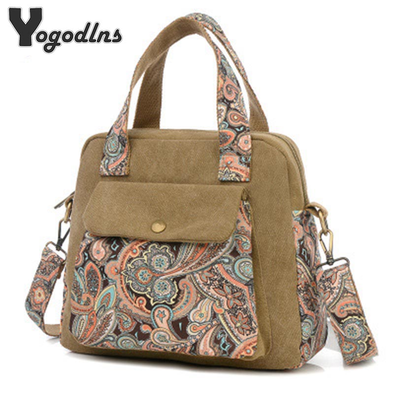 New Top Quality Vintage Women Handbag Ethnic Style Print Flower Canvas Large Tote Fashion Shoulder bag Women Messenger Bag women s fashion stretchy flared full length ethnic aztec print style palazzo pant