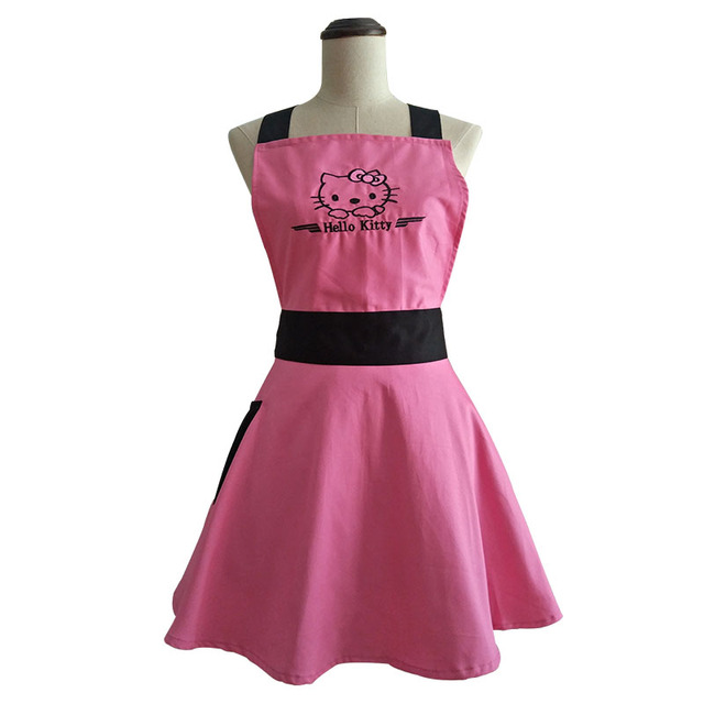 Hot Pink Embroidered Hello Kitty Kitchen Apron for Woman Avental de Cozinha Divertido Tablier Cuisine Pinafore Apron Vintage