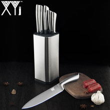 XYj New Arrival Kitchen Stainless Steel Knives Set Holder Stand Block Paring Utility Santoku Chef Slicing Bread Cooking Knife(China)