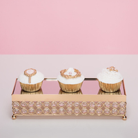 Gold rectangle cake tray crystal cupcake plate wedding cake table accessory party decoration tools for dessert