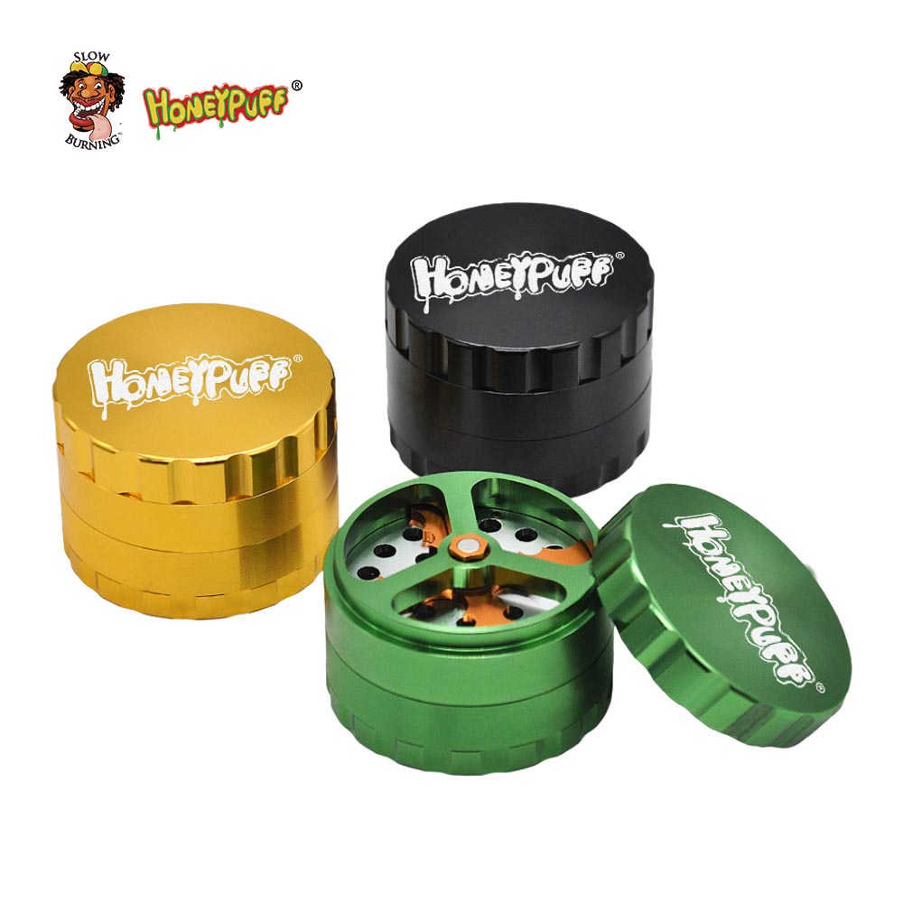 new luxury honeypuff dry herb grinder with cutting blades aluminum