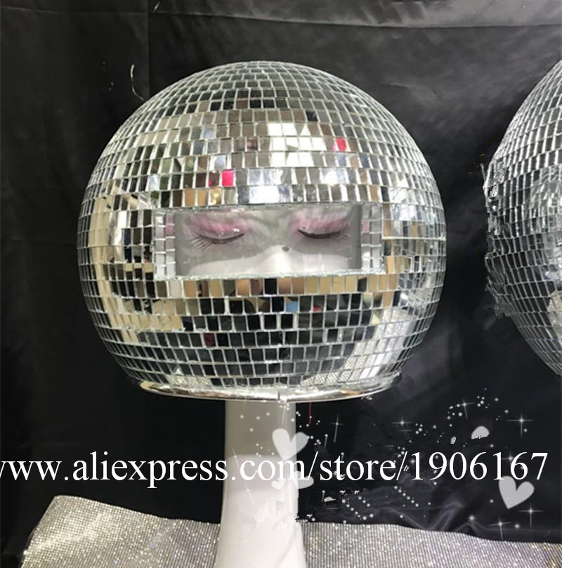 Ballroom dance costumes mirror men women singer stage show wears dj clothe Glass ball led helmet catwalk disco performance5