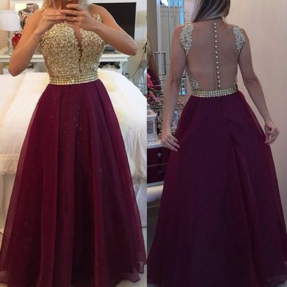 Popular Burgundy Gold Bridesmaid Dresses-Buy Cheap Burgundy Gold ...