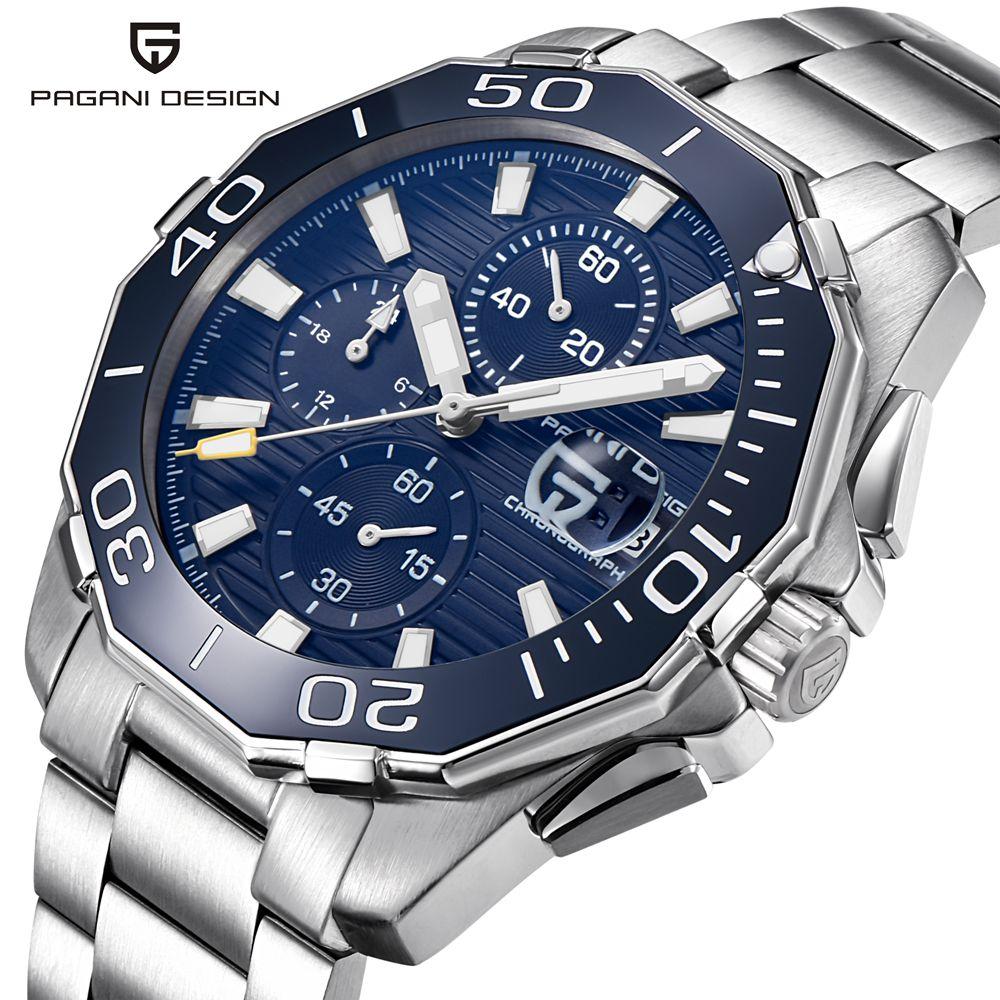 PAGANI DESIGN en acier inoxydable hommes montres marque de luxe chronographe Sport affaires étanche Quartz montre bracelet hommes horloge mâle - 1