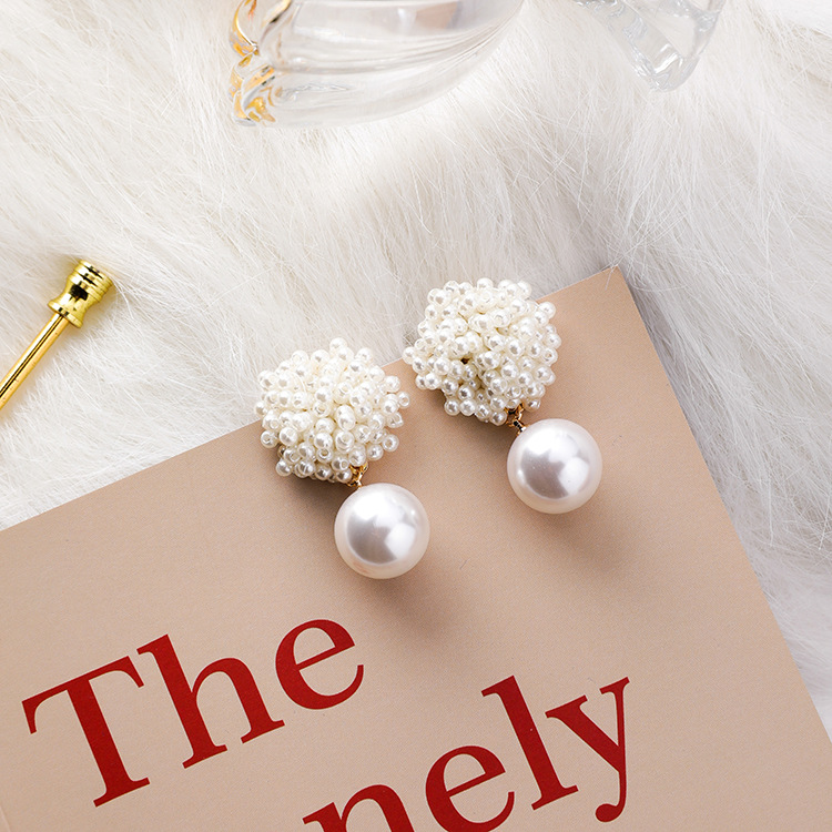 Vintage Handmade Style Simulated Pearl Beads Flower Stud Earrings Elegant Japan Korean Fashion Women Geometry Jewelry Girl Gifts gold earrings for women