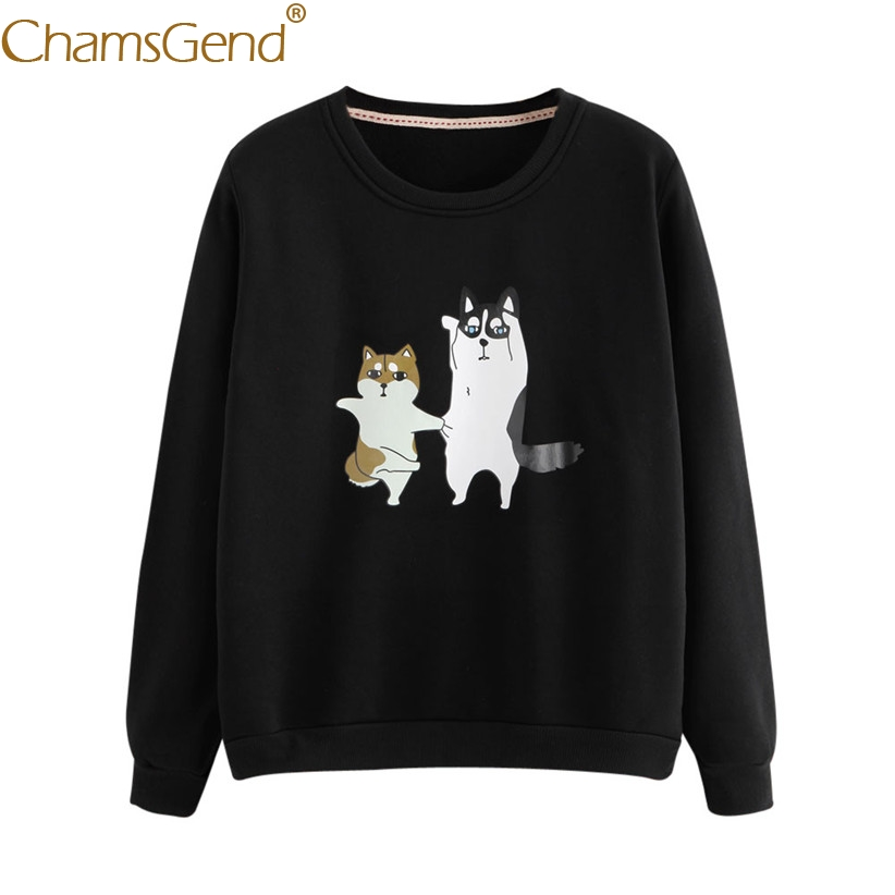 Chamsgend Newly Design Cartoon Husky Akita Printed Long Sleeve Black Sweatshirt For Women 71108