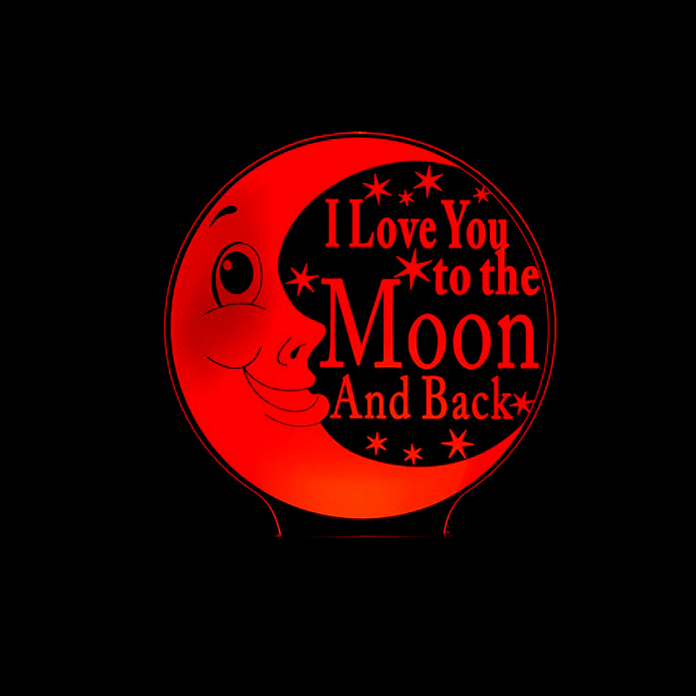 Baby Sleeping Lighting Table Lamp 3D I Love You To The Moon And Back Moon Nightlight LED Bedroom Bedside Night Light Decor Gifts