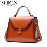 MiiKLN Ladies Small Leather Bags Solid Red Black Green Split Cow Leather Flap Women Bag Handbag