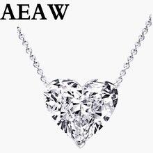 Ожерелье в форме сердца Moissanite 1 карат, цвет DF, VVS, 18K WG, прикрепить регулятор 3 см к цепочке 38 см, с сертификатом